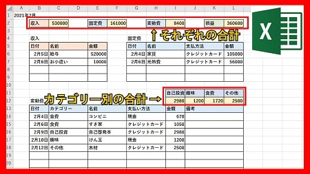 【便利】エクセルで家計簿を作成