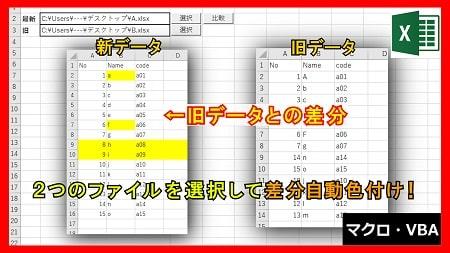 【業務】Excelファイル自動比較で差分色付システム